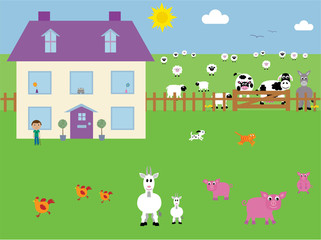 Cute farmhouse & animals vector illustration