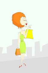 Cartoon woman shopping