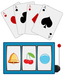 Casino icons. Slot Machine. Playing cards. Vector.