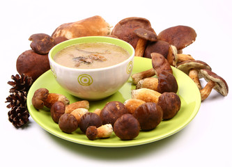 Mushroom soup in a bowl with mushrooms around it