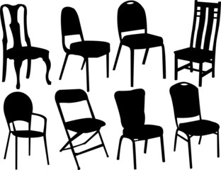 chairs silhouette collection vector
