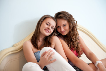 Two girls in bed