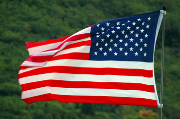 Patriotic Image of an American Flag Flapping in the Wind