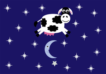 Cute cow jumping over a crescent moon