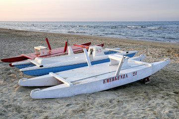 Rescue lifeboats on Rimini beach, Emilia-Romagna, Italy