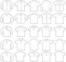 Polo & button down shirts outline vector templates