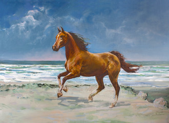 Chestnut horse, painting