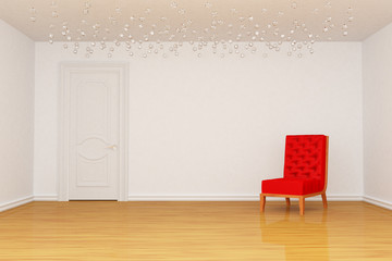 Empty room with door and red chair