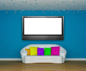 blue minimalist living room with white couch and lcd tv
