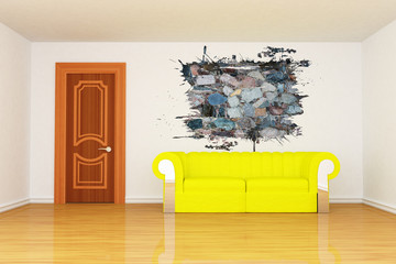minimalist living room with yellow couch and splash hole