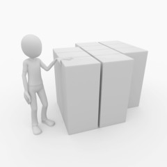 3d man with blank product boxes