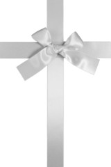 silver colore vertical cross ribbon with bow, isolated