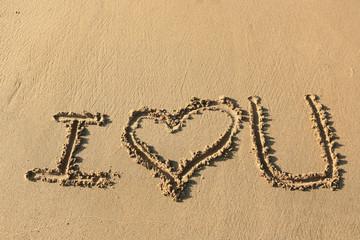 """I love you"" drawing on the beach"