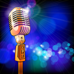 microphone in the light colored lights