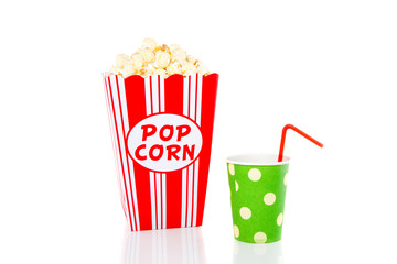snacking popcorn and a drinking cup with a red straw isolated ov