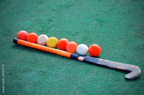 Field Hockey Stick With Many Balls