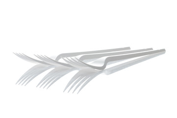 Three plastic forks