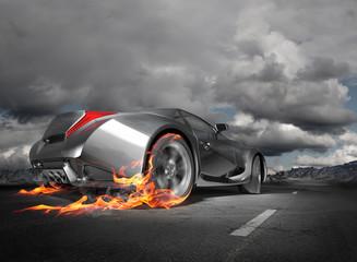 Sports car burnout. Original car design.