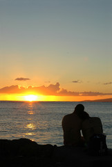 Romantic Image of a Loving Couple Embracing at Sunset