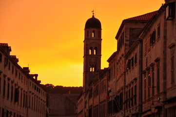 Sunset in Old Town. Dubrovnik, Croatia