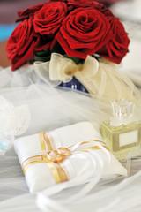 perfume  and wedding rings