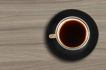 coffee cup on oak table