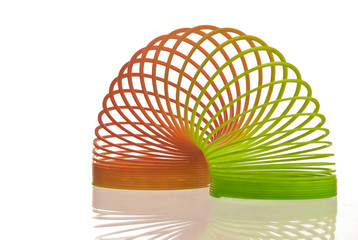 Slinky toy on white background