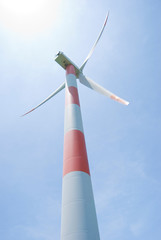 wind turbine under sunshine