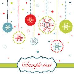 Christmas balls card with snowflakes