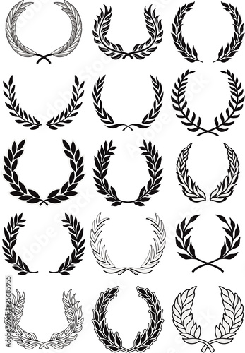 Line Art Xl 2010 : Quot laurel wreaths vector set stock image and royalty free