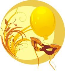 Masquerade mask and yellow balloon. Sticker. Vector
