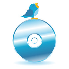 Bird tweeting on top of a CD over white