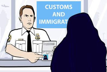 passport control of woman wearing nikab