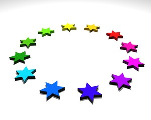 stelle colorate 3d