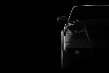 3d car silhouette on black background