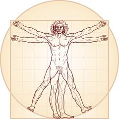 «Homo vitruviano». So-called The Vitruvian man a.k.a. Leonardo's man. Detailed drawing on the basis of artwork by Leonardo da Vinci, executed him c. 1490 (in 1487 or 1490 or 1492).