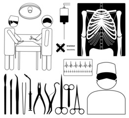 surgery, medical icon set