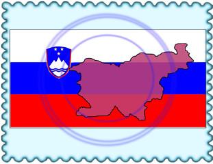 Slovenia map flag stamp