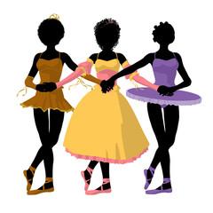 Three African American Ballerinas Illustration Silhouette