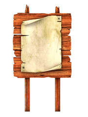 old blank manuscript on the wooden billboard