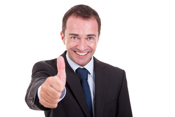 andsome businessman with thumb raised as a sign of success