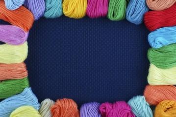 Framework from multi-coloured threads