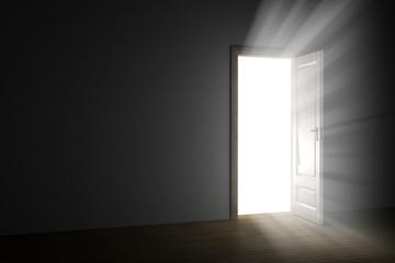 bright light through an open door in empty room.