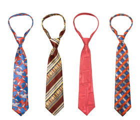Set of man's ties isolated