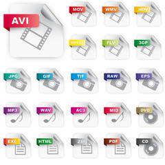 Set of icons for  file extensions