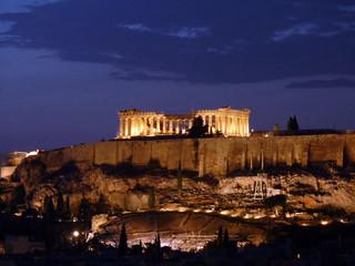 Acropolis lit in the twilight