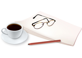 Cup of fragrant coffee on a paper. Vector.