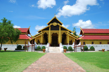 Pavilion of buddhist temple with brighten sky