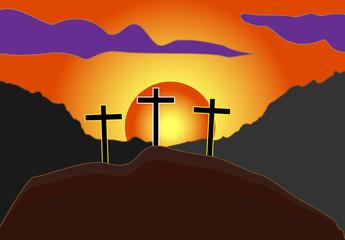 vector cross of jesus on hill