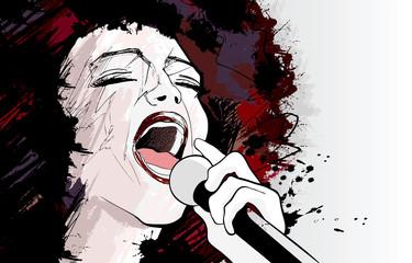 Etiqueta Engomada - jazz singer on grunge background